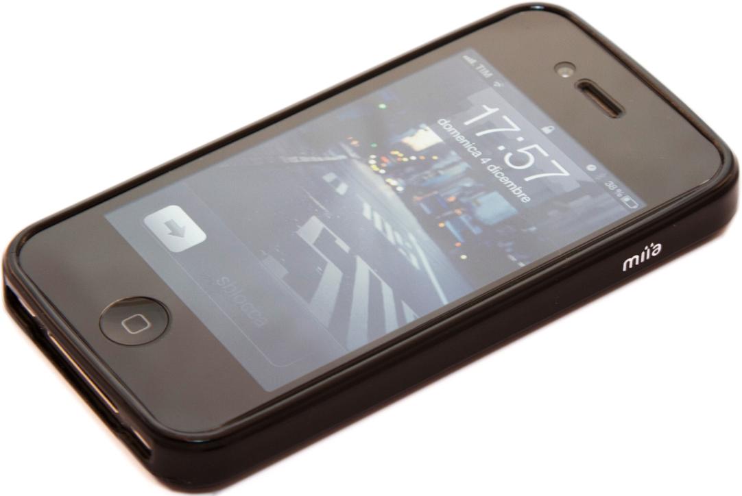 MIIA Custodia in silicone Nera glossy per iPhone 4/4S