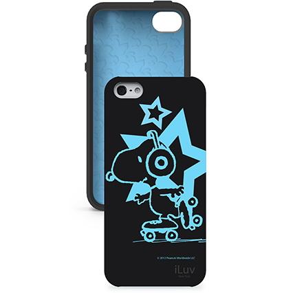 Custodia Snoopy che si illumina al buio per iPhone 5, Nera
