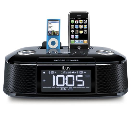 Image of Radio sveglia con doppio dock per iPod e iPhone nera - iLuv