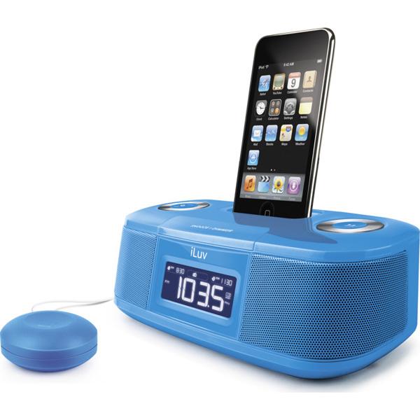 Image of Radio sveglia con vibra cuscino per iPod blu - iLuv