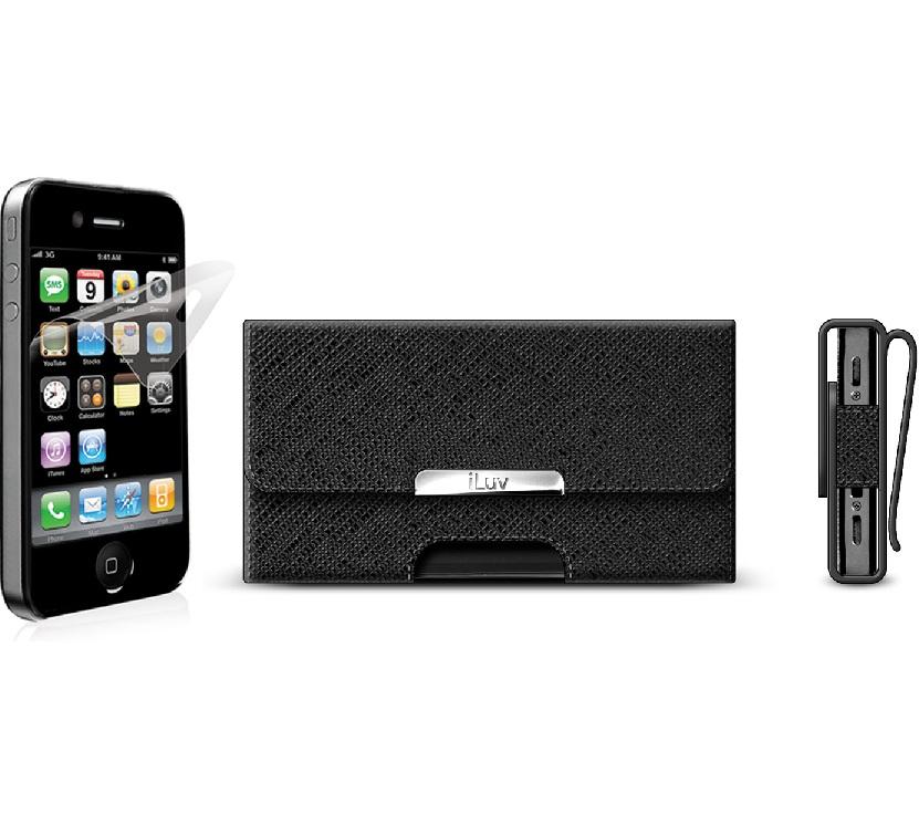 Custodia in Pelle con clip per iPhone 4 nera - iLuv