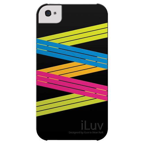ZIG ZAG - Custodia in silicone morbida per iPhone 4 nera - iLuv